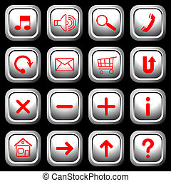 White square buttons, red symbols. - White square buttons...