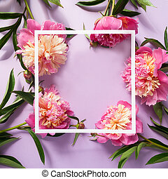 White square frame with pink peonies on purple background