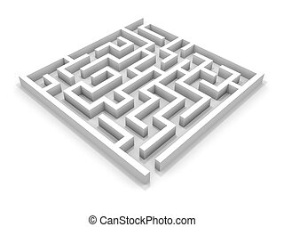 White square maze. 3D illustration.