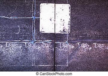 White Square on Metal Doors: detail