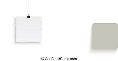 White square paper sheet hanging on paper clips isolated on white background. Vector design element.