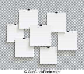 White square paper sheets hanging on paper clips isolated on transparent background. Vector design elements.