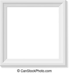 White square picture frame. Minimalistic detailed photo...