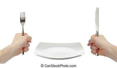 white square plate, knife and fork cutlery in hands isolated...