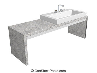 White square sink with chrome faucet, sitting on a granite table.
