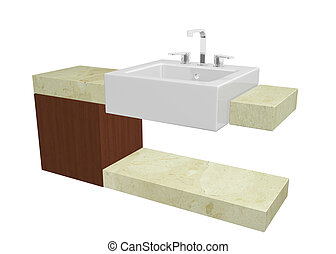 White square sink with chrome faucet, sitting on a marble table or countertop with a mohagany wooden cabinet