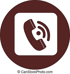 White square with a handset on a circle of dark red color, vector