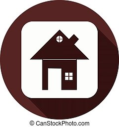 White square with a house sign on a circle of dark red color, vector
