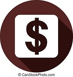 White square with dollar sign on a circle of dark red color, vector