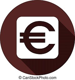 White square with EURO sign on a circle of dark red color, vector