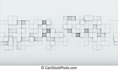 White squares 3D render loopable animation