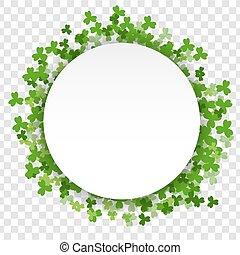 White St Patrick Day green clover empty frame