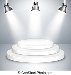 White Stage Platform Illuminated by Spotlights