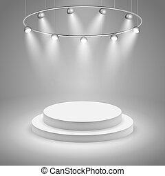 White stage with spotlight