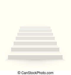 White stair. front view. 3D Staircase for interior...
