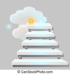 White stair leading into the clouds isolated on grey background. Sketch for greeting card, festive poster or party invitations. The way to get a star. Vector cartoon close-up illustration.