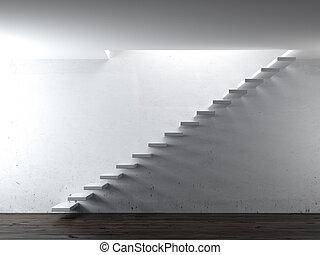 white stair steps near a wall. 3d render