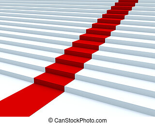 White stair with red path