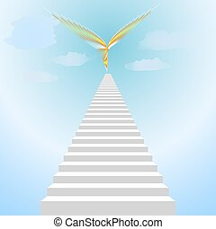 White staircase and abstract bird