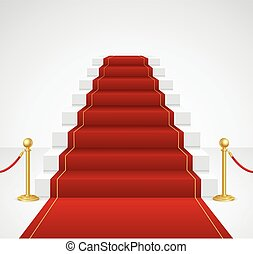 White Staircase and Red Carpet. Vector