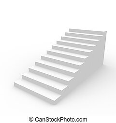 White staircase. - White staircase isolated on white...