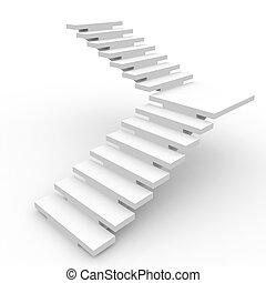 White staircase. - White staircase isolated on white...