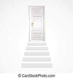 White Staircase to Open Door. Vector