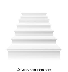 White Staircase Vector. 3D Realistic Illustration. Front View Of Clean White Empty Staircase Vector. Success Progress Concept. Isolated