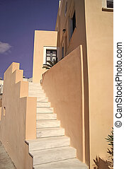 white stairs at the traditional building in Santorini, Greece