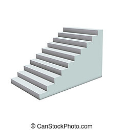 White stairs. - White Ladder on white background