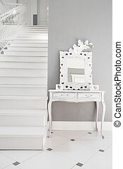 White stairs in a residence - View of white stairs in a...