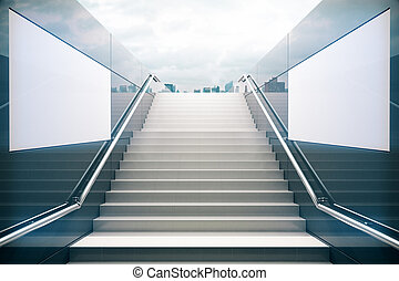 White stairs with dull sky
