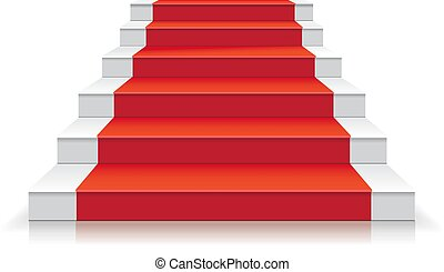 White stairway with red carpet 3d Staircase vector illustration