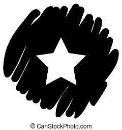 White star button icon vector illustration on black background