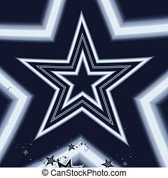 White star fractal on blue background