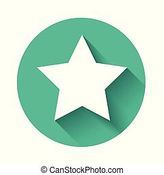 White Star icon isolated with long shadow. Favorite, best rating, award symbol. Green circle button. Vector Illustration