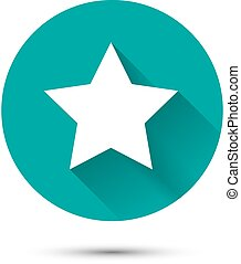White star icon on green background with shadow