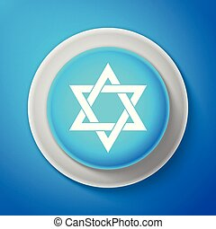White Star of David icon isolated on blue background. Circle...