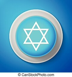 White Star of David icon isolated on blue background. Jewish...