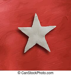White star on red background