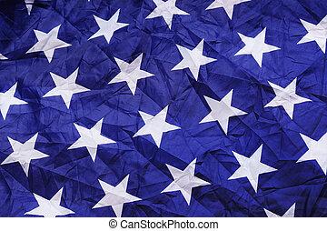 White star on screwed blue silk texture
