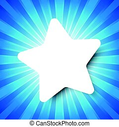 White Star template on Blue abstract background with start burst concept