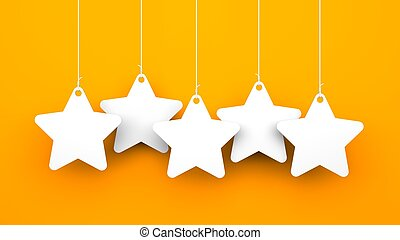 White stars on orange background