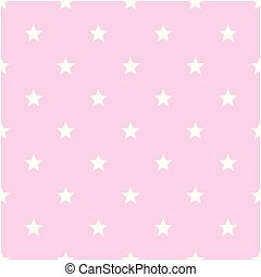 White Stars Pattern Pink Background Vector Image
