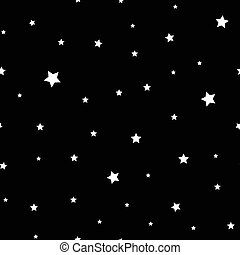White stars seamless pattern on black incredible background.