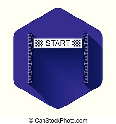 White Starting line icon isolated with long shadow. Start symbol. Purple hexagon button. Vector Illustration
