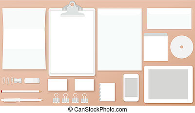 White stationay mock up - Vector illustration of white ...