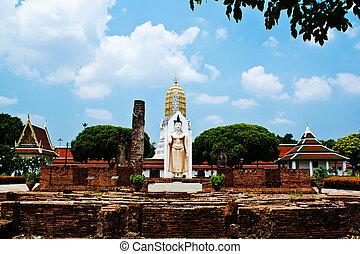 White Statue of Buddha in Thailand