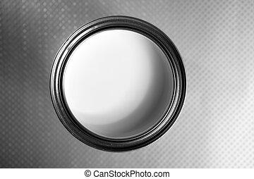 White steel tin of paint macro
