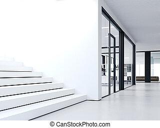 White steps in bright office. 3d rendering - White steps in...